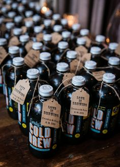 Bottles of Cold Brew Concentrate for Iced Coffee make for amazing wedding favors! | Kelly Williams, Photographer | http://heyweddinglady.com/romantic-rustic-urban-wedding-at-brooklyn-winery/