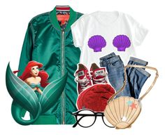 """""""Disneybound Ariel"""" by kateremington-1 ❤ liked on Polyvore featuring Hilfiger Collection, J.Jill and Converse"""