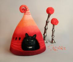 Katze-Höhle Katzenhaus Katze Bett Tierbett rot Bett von FeltField