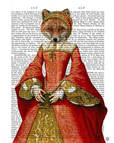 The Fox Queen Digital Painting Fox print fox picture by FabFunky, $15.00