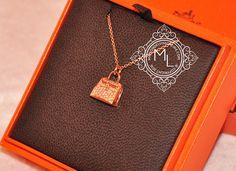 Hermes Rose Gold Diamond Kelly Pendant Necklace - New