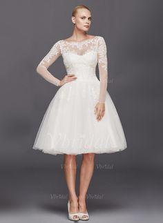 Brautkleider - $146.00 - A-Linie/Princess-Linie U-Ausschnitt Knielang Tüll Brautkleid mit Rüschen Applikationen Spitze (0025096432)