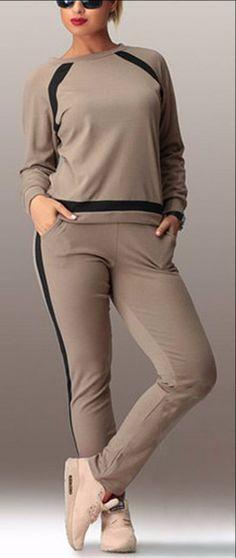 2016 new Fashion style Women's Sets Plus Size Women Clothing Leisure O-Neck Long Sleeve Patchwork