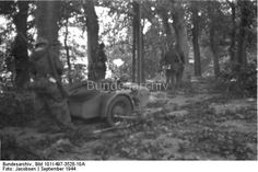 Holland, Arnheim/Nymwegen.- Soldaten mit Krad im Wald; Lw Kdo West  Dating: September 1944