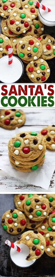 Santa's favorite cookies! Soft and chewy double chocolate chip pudding cookies. Santa's favorite cookies! Soft and chewy double chocolate chip pudding cookies with M&M candies. Christmas Snacks, Christmas Cooking, Noel Christmas, Holiday Treats, Holiday Recipes, Christmas Recipes, Christmas Christmas, Cookie Desserts, Holiday Baking