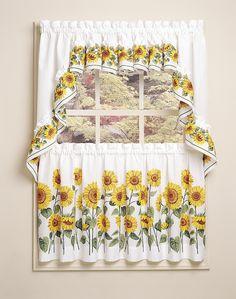 Sunflower design kitchen curtain