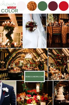 red green gold color palette hunter green burgundy red white roses pine antlers christmas lights evergreen glen view club wedding reception