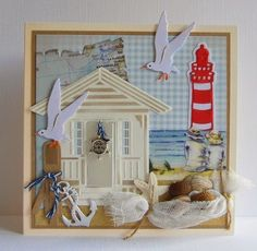 Card by Yvonne with among others Craftables  Scandinavian House (CR1217), Parchment and Label (CR1254), Tiny's Ocean set (CR1279) and Creatables Light House (LR0231) from Marianne Design