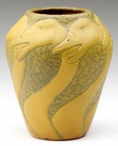"""VAN BRIGGLE Unusual and early vase embossed with geese and covered in matte mustard glaze against a textured moss and mustard ground, 1902. Incised AA VAN BRIGGLE 1902 III. 6 1/2"""" x 5"""""""
