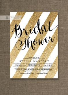 Black & Gold Bridal Shower Invitation White and Gold Glitter Stripes Metallic Sparkly Glam Modern Printable Digital or Printed- Stella Style