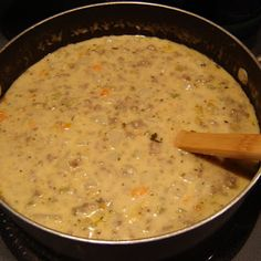 Cheeseburger Soup. Made this tonight - SO easy & so good!! Added diced peppers in place of carrots & celery.