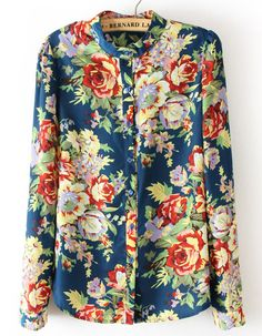 Blue Long Sleeve Floral Chiffon Blouse - Sheinside.com