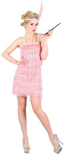 Ladies' Pink Showtime Flapper Fancy Dress Costume