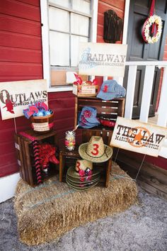 Cowboy themed birthday party idea.Wild west party.