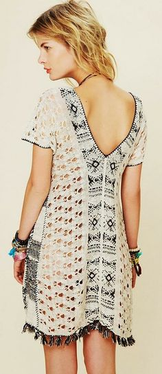 Lovely crochet detail tunic knitted sweater top