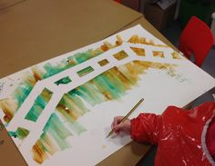 Troll bridge. To fit in with our topic of The Three Billy Goats Gruff the children have made some troll bridges using masking tape and paint.