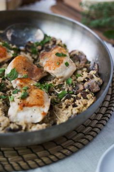 Chicken Thighs with Creamy Mushroom Rice • Brittany Stager