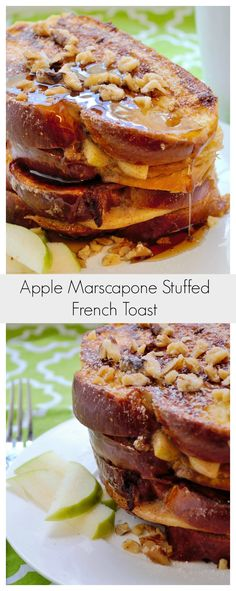 This Apple Marscapone Stuffed French Toast is decadent, over indulgent and a delicious treat any way you look at it. French Toast Roll Ups, Nutella French Toast, French Toast Bake, Stuffed French Toast, Breakfast Recipes, Vegetarian Breakfast, Breakfast Dishes, Breakfast Casserole, Breakfast Toast