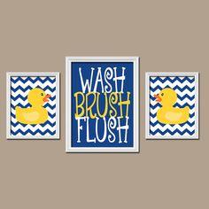 Rubber Duckie Bathroom Navy Yellow Duck Wall Art by TRMdesign