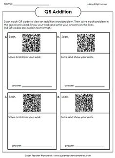 If you have iPads in your classroom, try QR Code math!  Your students will love it! They scan the barcodes to view word problems. Then solve in the space provided.