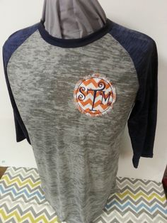 Order yours today at www.leahbethdesigns.com Appliqued Circle Fabric Patch with Embroidered Initials on Burnout 3/4 Sleeve Baseball Shirt: Leahbethdesigns