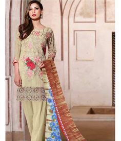 Naksh - Elegant Light Green Georgette Straight Suit