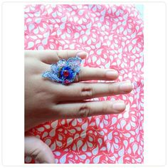 Flower lace ring with svarowsky
