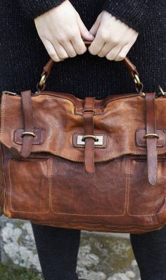 you know how i love leather! > Fallow Bag - Handmade from deliberately 'aged' chestnut leather. Inner zipped pocket and leather mobile phone slot. Made by Campomaggi, Italy. My Bags, Purses And Bags, Mode Vintage, Beautiful Bags, Look Fashion, Brown Leather, Leather Bags, Leather Satchel, Distressed Leather