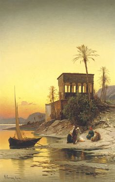 Hermann David Solomon Corrodi (Italian, 1844-1905) Kiosk of Trajan, Philae on the Nile signed and inscribed 'H. Corrodi. Roma' (lower left) oil on canvas 39½ x 25¼ in. (100.3 x 64.2 cm.) Painted in Rome.