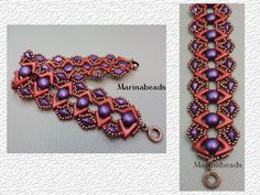Tutorial to make Bracelet.Step by step beading instructions with pictures. This document includes the cover and 7color pages. You need Ava beads,Diamonduo beads , Candy beads and seed beads to make this bracelet. Beads avalaible on my etsy shop: Marinabeads06