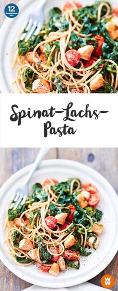 Spinat-Lachs-Pasta | 12 SmartPoints/ Portion, Weight Watchers, fertig in 30 min.