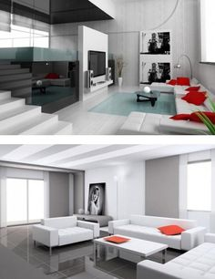contemporary white rooms with red accent - Google Search