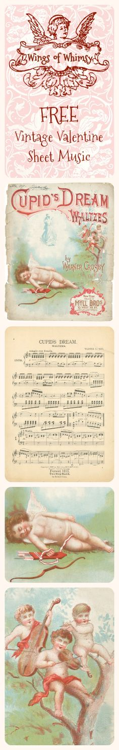 Wings of Whimsy: Vintage Valentine's Sheet Music - free for personal use #vintage #ephemera #valentine #printable #freebie