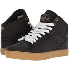 Osiris NYC83 VLC DCN (Black/Black/Copper) Men's Skate Shoes ($50) ❤ liked on Polyvore featuring men's fashion, men's shoes, men's sneakers, mens hi top sneakers, mens black hi top sneakers, mens hi tops, mens high tops and mens skate shoes