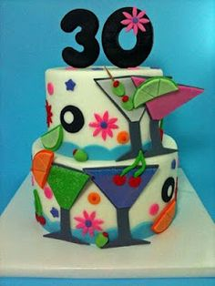 No flowers, no olives,  not so busy of a cake,  29 +1, tiers not so fat, shot glass on it,  my name (jenn) under numbers on side of tier n say get drunk