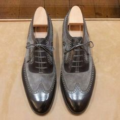 Handmade Men Black Grey Shoes, Oxford Formal Dress Suede & Leather Shoes - Dress/Formal