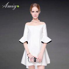 Elegant Women Off Shoulder Bell Sleeve Slim Short Evening Dresses Photo, Detailed about Elegant Women Off Shoulder Bell Sleeve Slim Short Evening Dresses Picture on http://Alibaba.com.