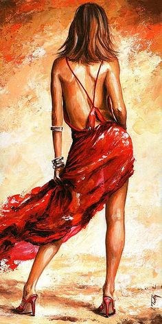 Lady In Red 40 by Emerico Imre Toth - Lady In Red 40 Painting - Lady In Red 40 Fine Art Prints and Posters for Sale