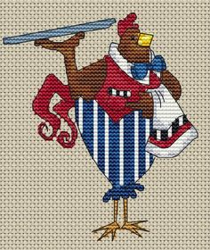 . Cross Stitching, Cross Stitch Embroidery, Embroidery Patterns, Cross Stitch Designs, Cross Stitch Patterns, Chicken Cross Stitch, Cross Stitch Kitchen, Plastic Canvas Tissue Boxes, Chickens And Roosters