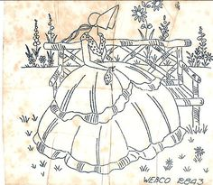 Crinoline Lady sitting on a park bench Silk Ribbon Embroidery, Hand Embroidery Patterns, Applique Patterns, Vintage Embroidery, Cross Stitch Embroidery, Machine Embroidery, Embroidery Transfers, Sewing Art, Crochet Videos