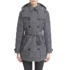Burberry Brit 'Midallerdale' Belted Down Coat ($995) ❤ liked on Polyvore featuring outerwear, coats, pewter, trench coat, hooded toggle coat, belted trench coat, down puffer coat and puffer coat