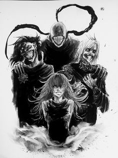 Noro, Kanae, Takizawa, and Eto ||| Tokyo Ghoul: Re Fan Art by sociopathinblack on Tumblr