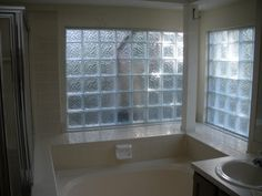 Bathroom Window Glass Block bathroom, reno, subway tile, sea glass tile, glass tile, white