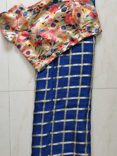 Jute georget saree with designer readymade blouse size 36 to 38