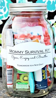Mommy Survival Kit In A Jar—I know of a few mommies in need of this!