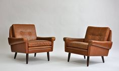 Pair of 1960s Leather Lounge Chairs by Svend Skipper | From a unique collection of antique and modern lounge chairs at https://www.1stdibs.com/furniture/seating/lounge-chairs/