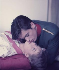 Portrait of Romy Schneider and Alain Delon for Christine directed by Pierre Gaspard-Huit, 1958.