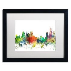 Trademark Fine Art 'Detroit Michigan Skyline SP' Black Framed Art by Marlene Watson