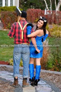 Coolest Paul Bunyan and Babe the Blue Ox Couple Costume  5: Ohhhh well we're from MINNESOTA don'cha know? lol. Yes my boyfriend and I thought that it would be creative to dedicate our costumes this year to the folk