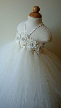Flower girl dress Ivory tutu dress by Theprincessandthebou on Etsy, $74.00